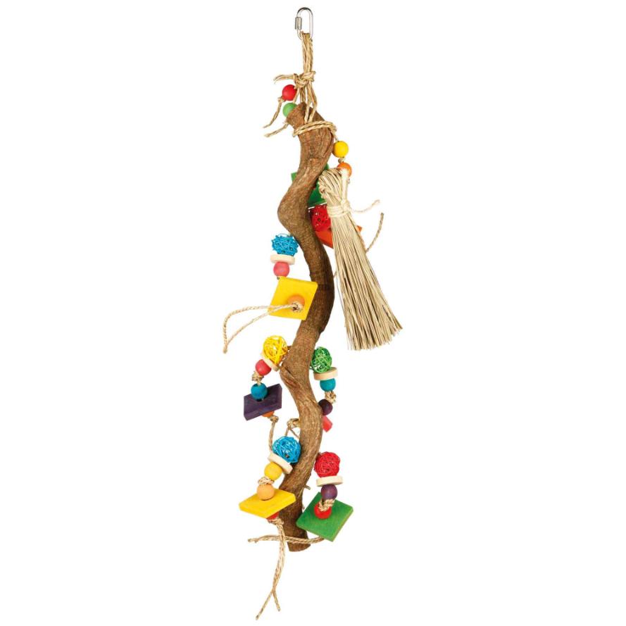 Spielzeug mit unterschiedlichen Elementen für Sittiche und Papageien
