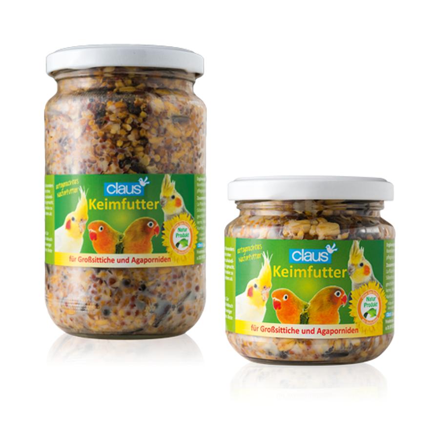 Glas mit fertigem Keimfutter für Großsittiche und Agaporniden