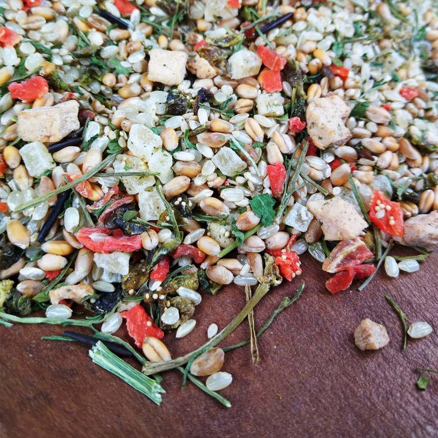 Kochfutter mit Reis, Gemüse und Kräutern für Papageien und Sittiche
