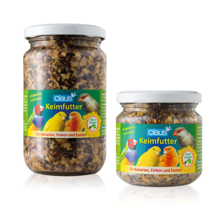 Glas mit fertigem Keimfutter für Kanarien, Finken & Exoten