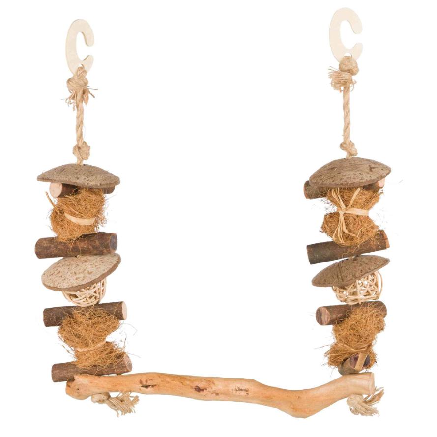 Vogelschaukel mit Javaholzast und seitlichen Elementen aus Rinde, Weide und Sisal